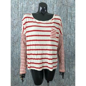Hang Ten Creme Red Striped Long Sleeve Pocket Tee
